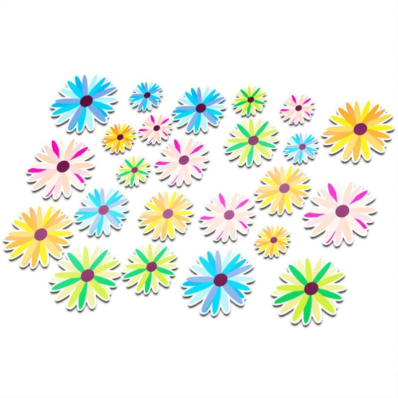 Fiets stickers bloemen set 1