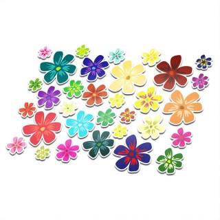 Fietsstickers bloemen set 10
