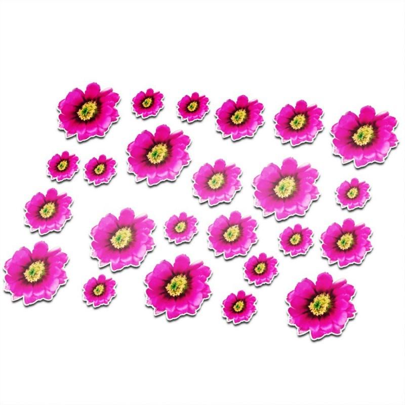 Fietsstickers Magenta bloemen set 21