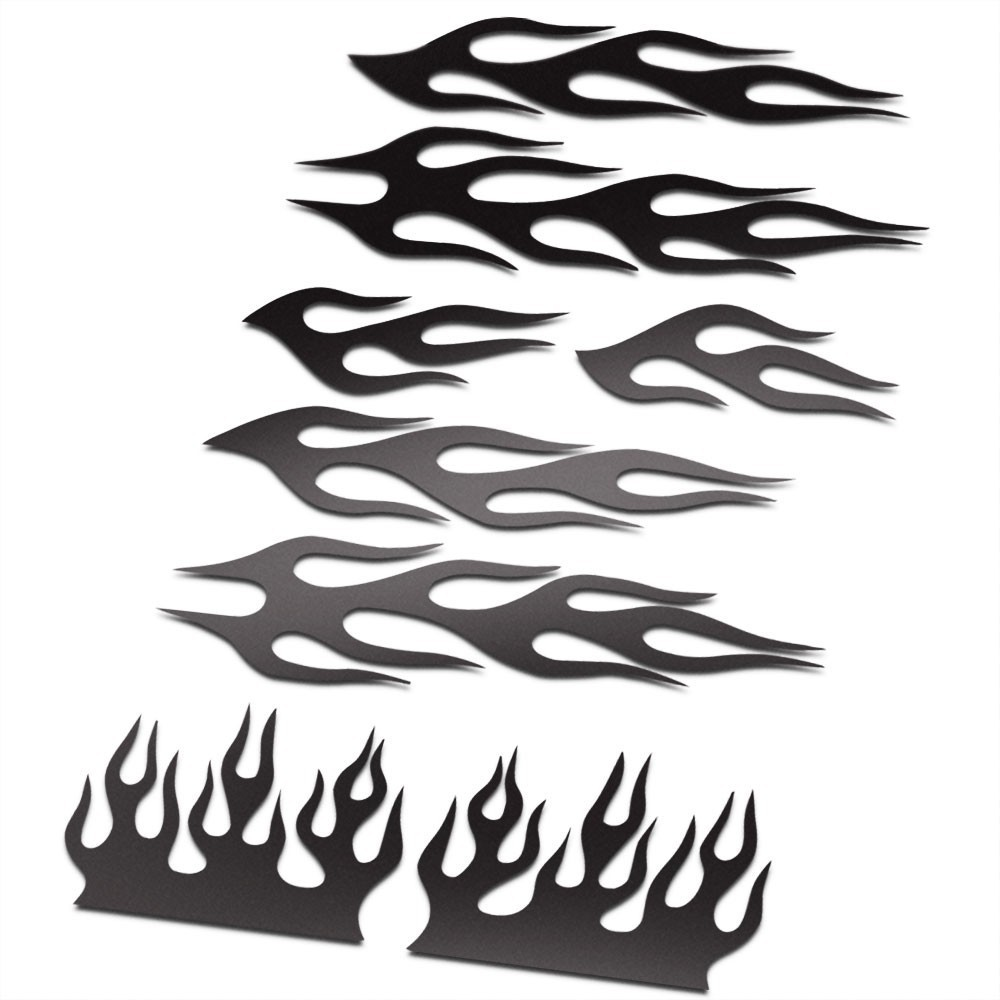 BMX Vlammen Stickers fiets Set Zwart