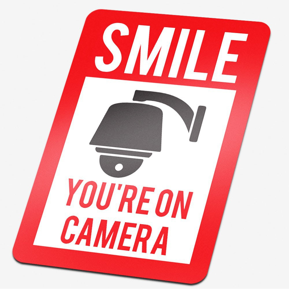 Camera sticker Smile you're on camera Rood