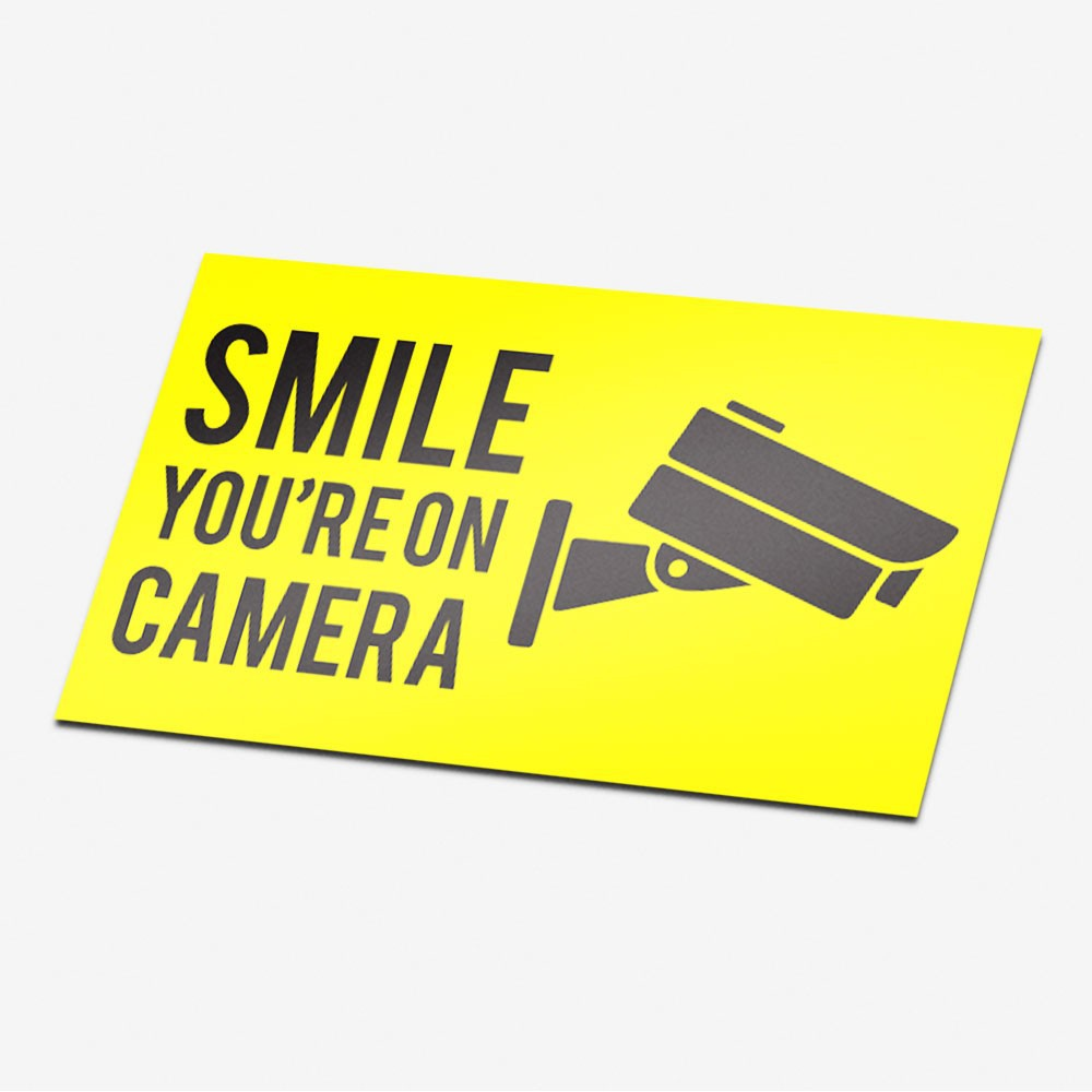 Camera sticker Smile you're on camera Geel