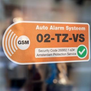 Auto Alarmsticker Oranje met eigen kenteken