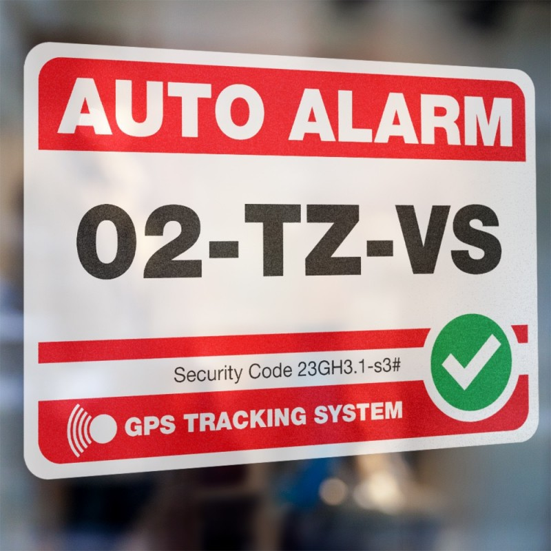Eigen kenteken Auto Alarmsticker Rood