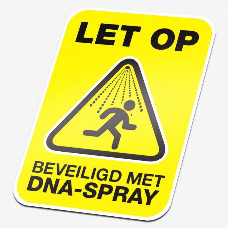 DNA-Spray Beveiliging sticker geel