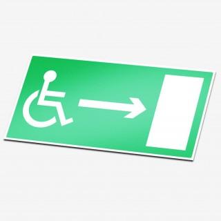 Mindervalide rechts sticker nooduitgang pictogrammen