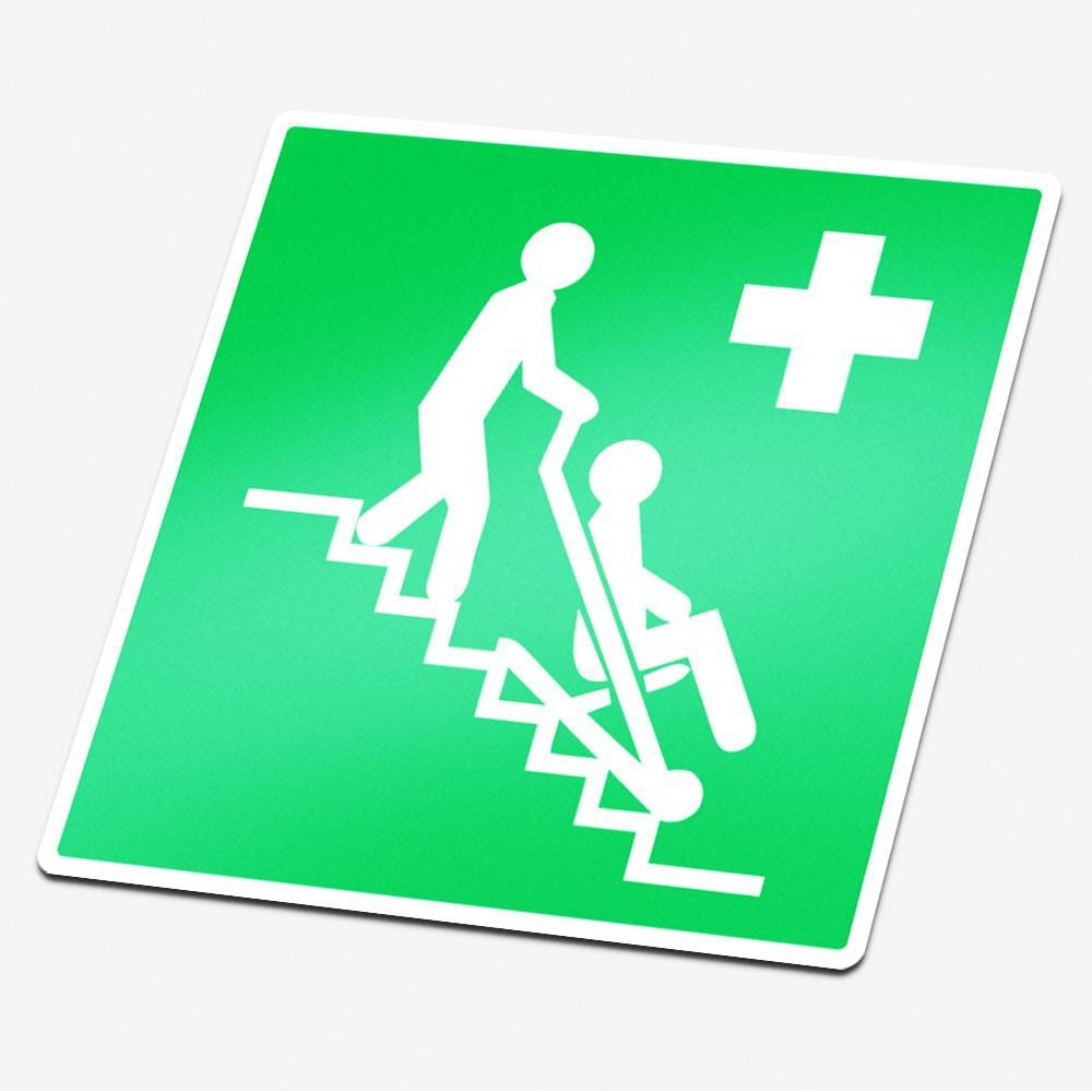 Evacuatiestoel sticker veiligheid pictogrammen