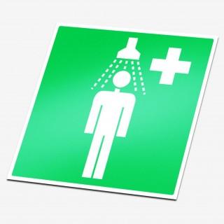 Nood douche sticker veiligheid pictogrammen
