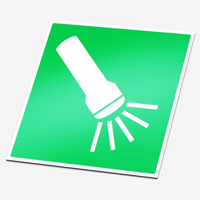 Zaklamp sticker veiligheid pictogrammen