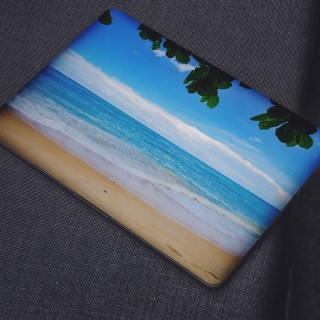 Kalm Strand Wolken Laptop Sticker