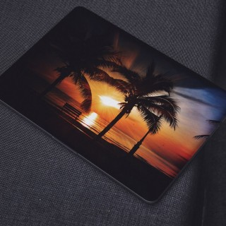 Zonsondergang Strand Palmbomen Water Laptop Sticker