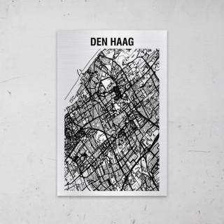 Stadskaart van Den Haag op Aluminium