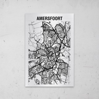 Stadskaart van Amersfoort op Aluminium
