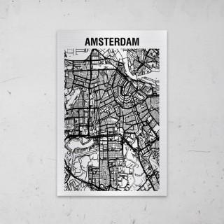 Stadskaart van Amsterdam op Aluminium