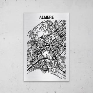 Stadskaart van Almere op Aluminium
