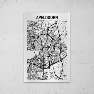 Stadskaart van Apeldoorn op Aluminium