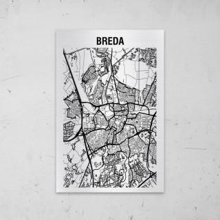 Stadskaart van Breda op Aluminium