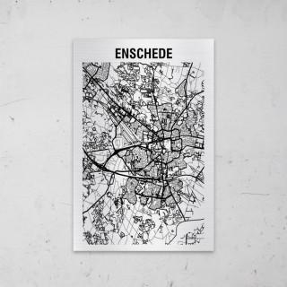 Stadskaart van Enschede op Aluminium