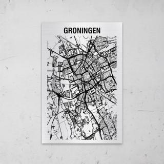 Stadskaart van Groningen op Aluminium