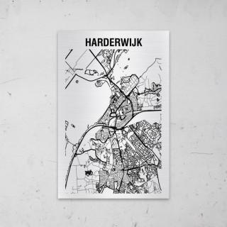 Stadskaart van Harderwijk op Aluminium