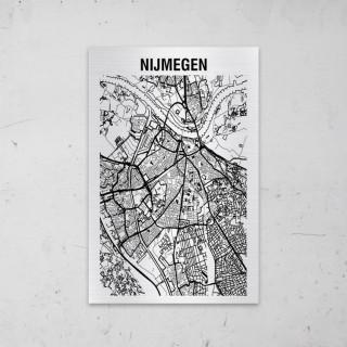 Stadskaart van Nijmegen op Aluminium