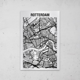 Stadskaart van Rotterdam op Aluminium