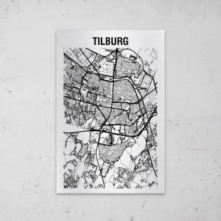 Stadskaart van Tilburg op Aluminium