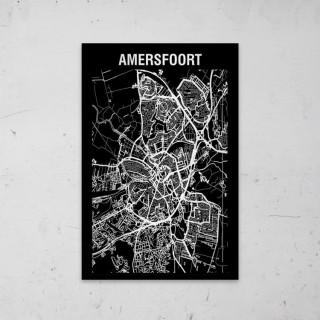 Stadskaart Inverse van Amersfoort op Aluminium