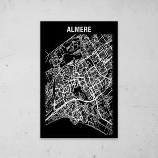 Stadskaart Inverse van Almere op Aluminium
