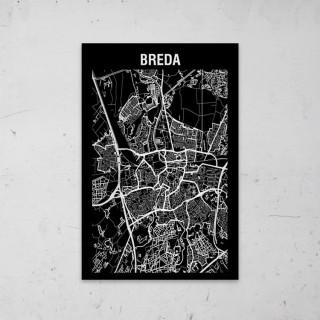 Stadskaart Inverse van Breda op Aluminium