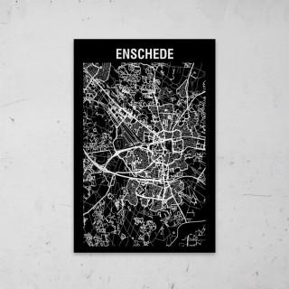 Stadskaart Inverse van Enschede op Aluminium