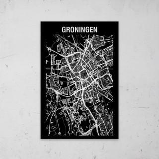 Stadskaart Inverse van Groningen op Aluminium