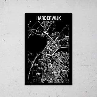 Stadskaart Inverse van Harderwijk op Aluminium