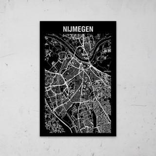 Stadskaart Inverse van Nijmegen op Aluminium