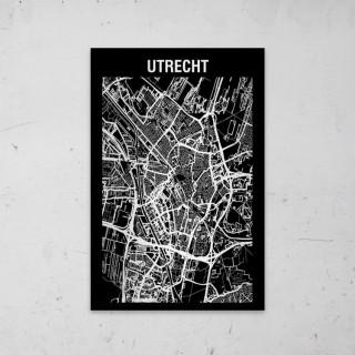 Stadskaart Inverse van Utrecht op Aluminium