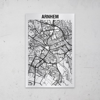 Stadskaart van Arnhem op Aluminium