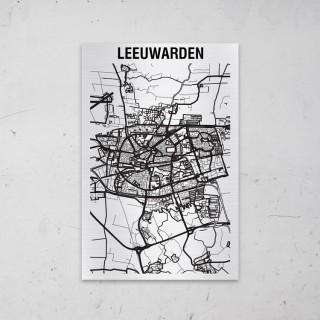 Stadskaart van Leeuwarden op Aluminium
