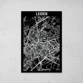 Stadskaart Inverse van Leiden op Aluminium