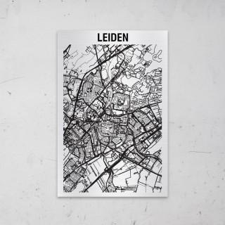 Stadskaart van Leiden op Aluminium