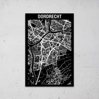 Stadskaart Inverse van Dordrecht op Aluminium