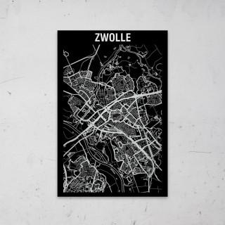 Stadskaart Inverse van Zwolle op Aluminium