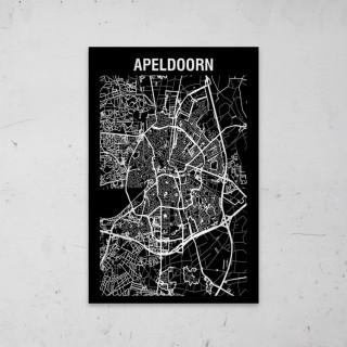 Stadskaart Inverse van Apeldoorn op Aluminium