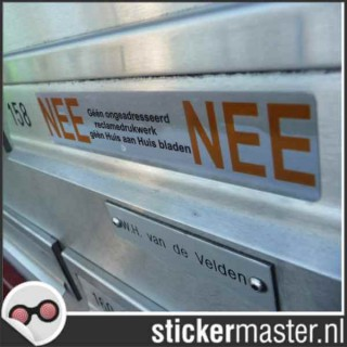 Luxe Nee Nee sticker brievenbus chroom