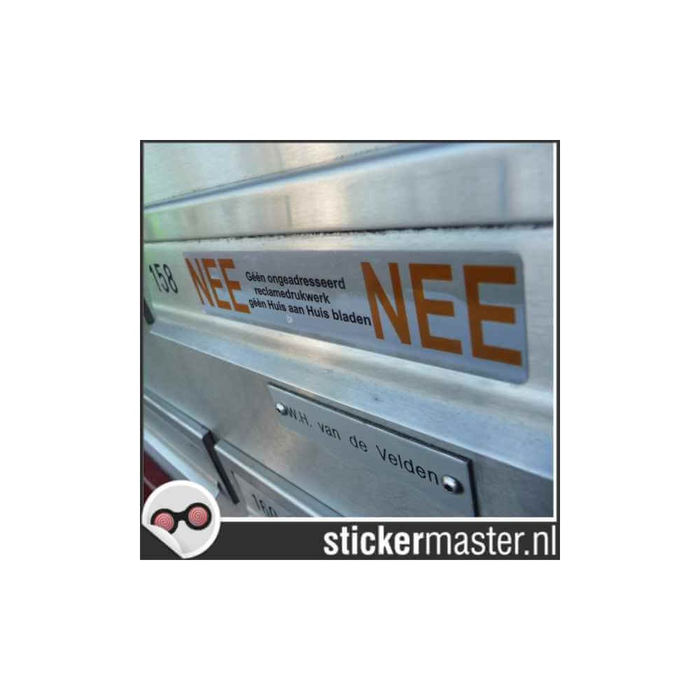 Luxe Nee Nee sticker brievenbus chroom foto