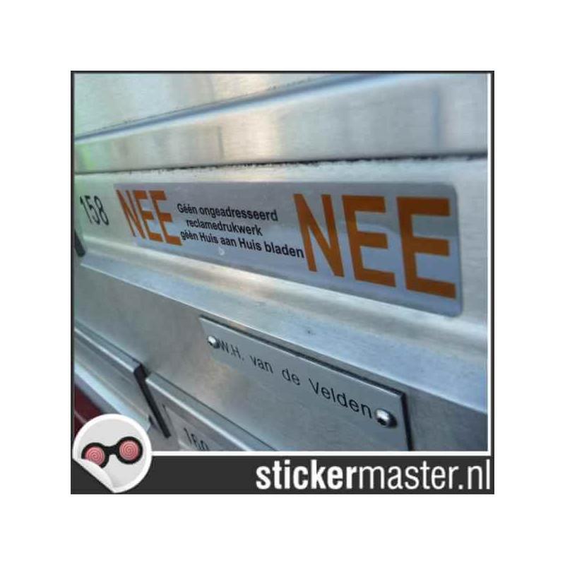 Luxe Nee Nee sticker brievenbus chroom foto
