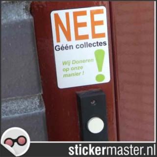 Nee geen colportage Sticker Wij doneren zelf