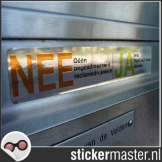 Luxe Nee Ja sticker brievenbus chroom