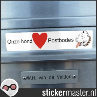 Sticker brievenbus funny pitbull