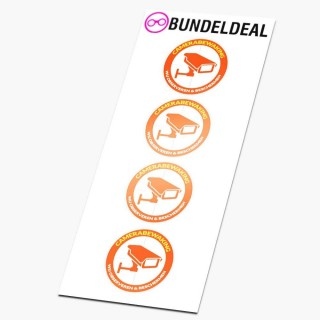 Set van 4 Ronde Oranje Camera Beveiliging Stickers