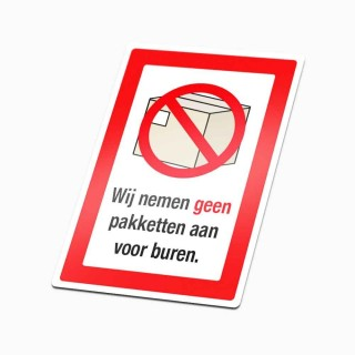 Nee Sticker Geen pakketjes rood geen colportage sticker